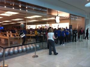 The doors of the Apple Store open