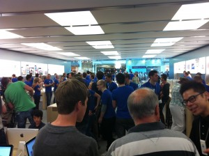 From the back of the Apple Store